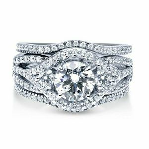 Jewelry - Sterling Silver CZ Halo 3-Stone Ring Set 2.36